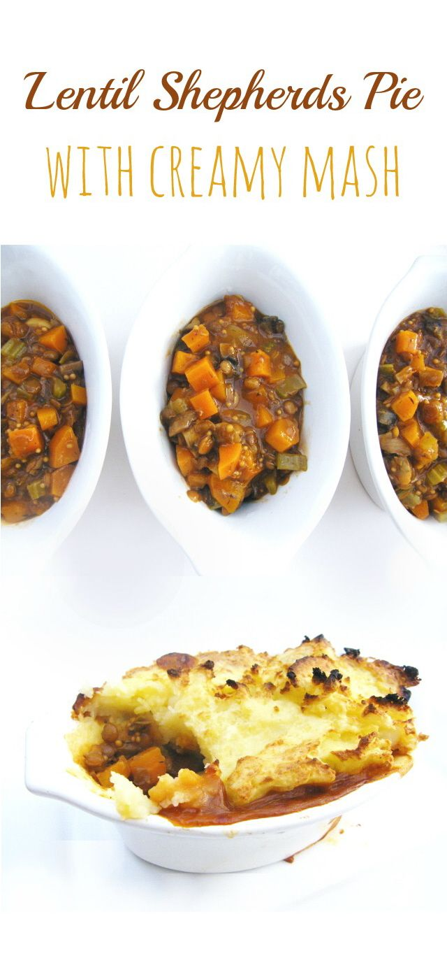 """""""Carrots, onions, mushrooms and lentils bathed in a thick, rich gravy, topped with creamy mashed potato and baked until golden and crispy at the edges."""""""