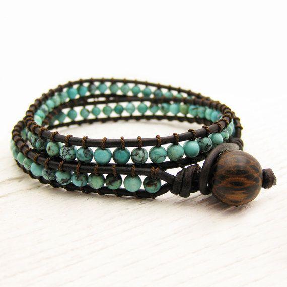 Natural Turquoise Bracelet en cuir Wrap w / bois de noix par byjodi