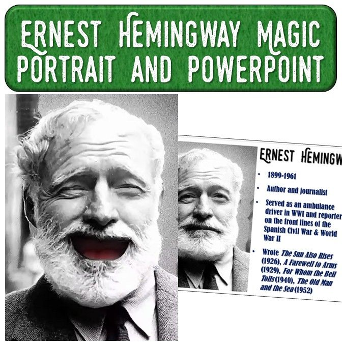 This amazing download includes a video and PowerPoint of Ernest Hemingway to use in your author study or Hemingway novel lesson plan!