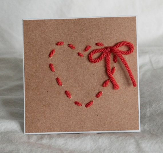 Valentine's Day Cards Greeting Cards Yarn Heart Bow - Cardinal Botique - Etsy