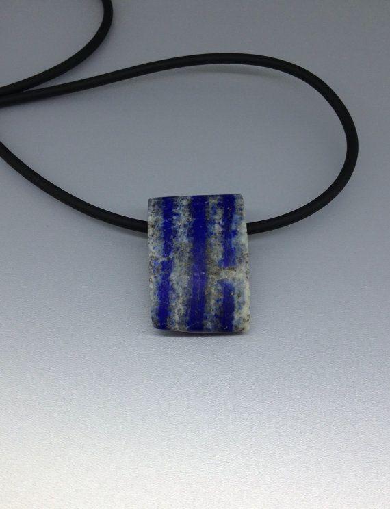 Natural striped Lapis Lazuli all stone pendant by lapislazulisamos. Explore more products on http://lapislazulisamos.etsy.com