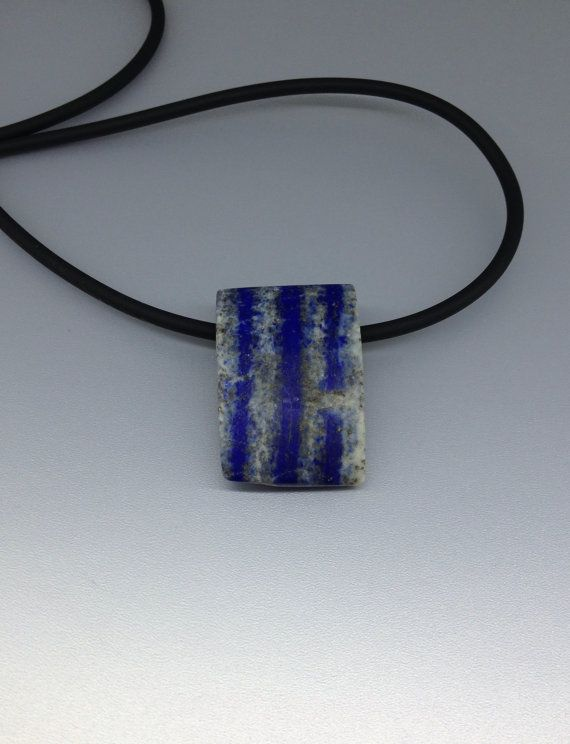 Natural striped Lapis Lazuli all stone pendant by lapislazulisamos. Explore more products on http://lapislazulisamos.etsy.com