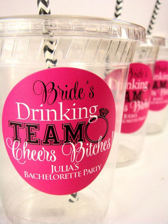 Bachelorette Party Cups Personalized Bride's by PoshBoxCouture, $11.75