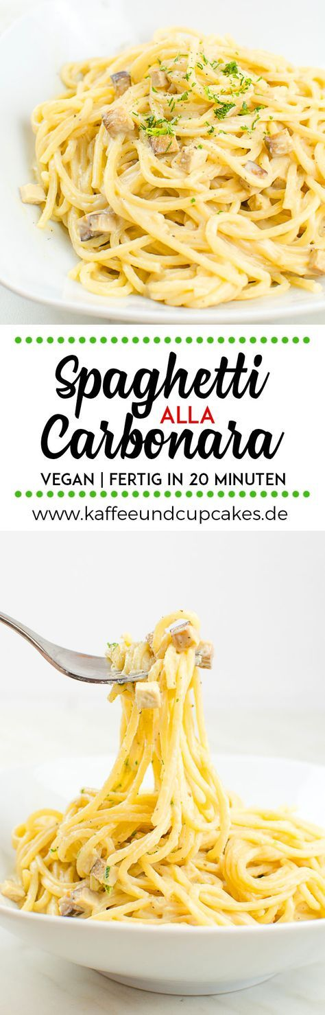 Vegane Spaghetti alla Carbonara 250 g Spaghetti gross weight 2 tsp olive oil 1 clove garlic , finely chopped 100 g smoked tofu into small cubes 250 ml soya milk unsweetened 20 g of chick pea flour 15 g yeast flakes 1/2 tsp Kala Namak rock salt 1/2 tsp salt pepper INSTRUCTIONS Put the spaghetti in boiling, lightly salted water and cook about 10-12 minutes, depending on taste. Meanwhile, heat the olive oil in a pan and then fry the finely chopped garlic and smoked for a few minutes in it until…