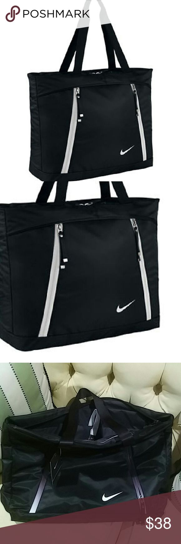 Nwt nike tote This is a very nice brand new Nike tote it has a pocket for a laptop or iPad and it also includes a Nike drawstring bag for your accessories. This couch has a zipper on the top and two small zippers on the front. The dimensions are 13.5 height ? 15.5 wide ? 5 in diameter Nike Bags