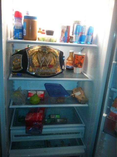 WWE Title in CM Punks Ice Box.
