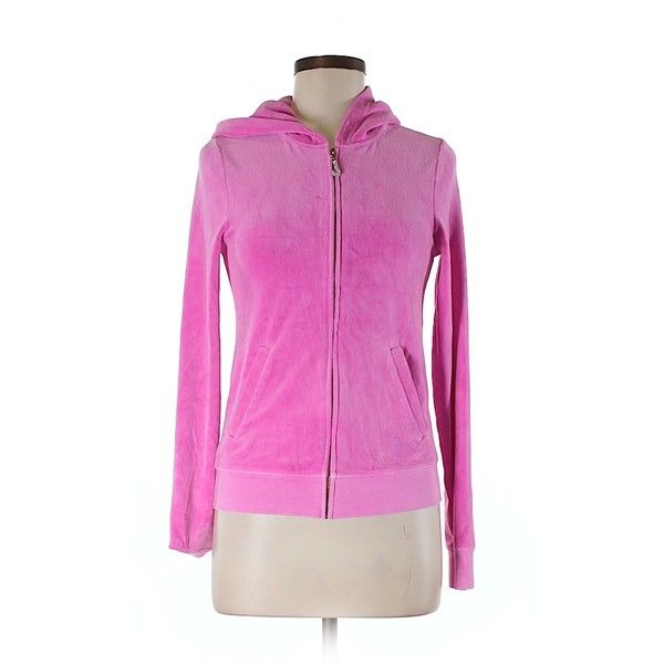 Pre-owned Juicy Couture Zip Up Hoodie Size 8: Pink Women's Tops ($29) ❤ liked on Polyvore featuring tops, hoodies, pink, pink zip up hoodie, hoodie top, pink hooded sweatshirt, pink zip up hoodies and zip up hoodie