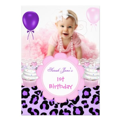 1860 best baby girls 1st birthday party invitations images on 1st birthday girl purple cupcake baby leopard 5x7 paper invitation card stopboris Gallery