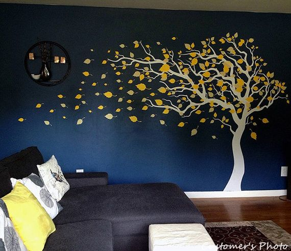 """Tree Wall Decals Baby Room Decal Vinyl Wall Decal Wall Sticker-Blowing in the Wind (83"""" H)- Designed by Pop Decors"""