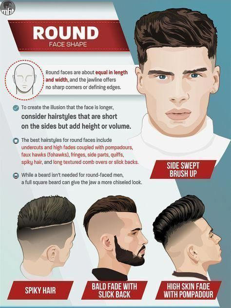 Hairstyles For Round Face Men Best Mens Haircuts For Round Face High Fade, Undercut, Pompadour, Faux Hawk, Fohawk Fade, Fringe, Side Part, Quiff - #fo...