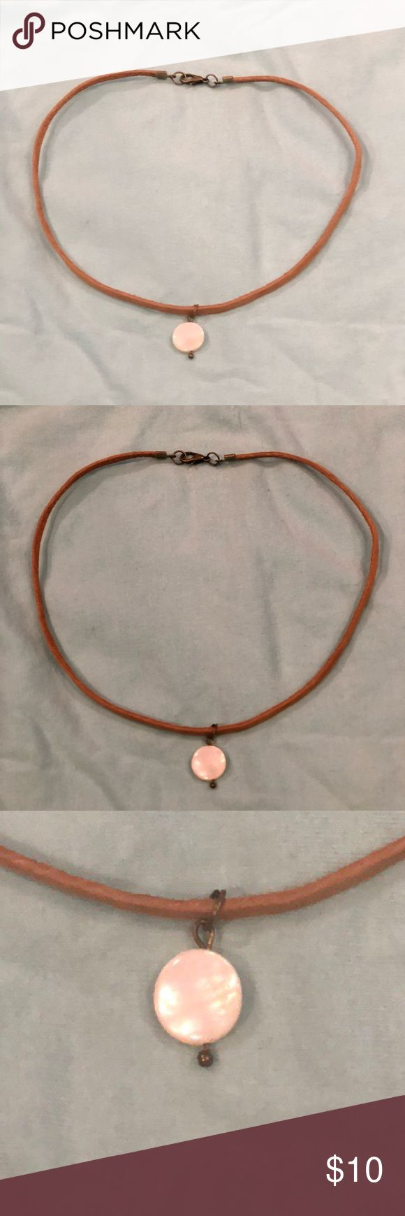 """🎀NWOT 14"""" Leather Choker With Shell Pendant Brand new!  Just doesn't come with tags.  Camel tan leather and pretty coin shell pendant.  14"""". Perfect for the beach!  Only selling because I have a lot of beach chokers like this one. Jewelry Necklaces"""