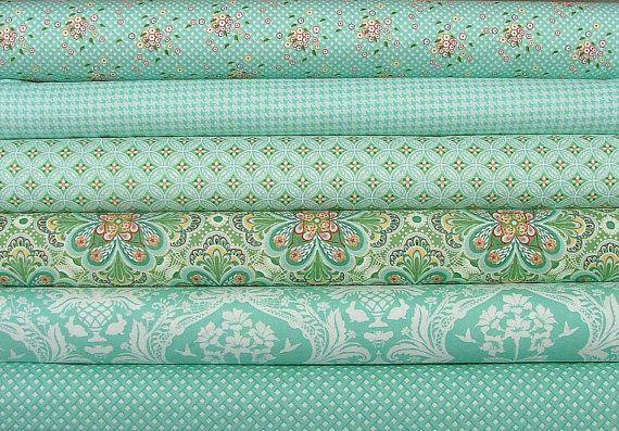 Half Yard Bundle of Flora in Teal  by Lauren by SistersandQuilters, $28.18