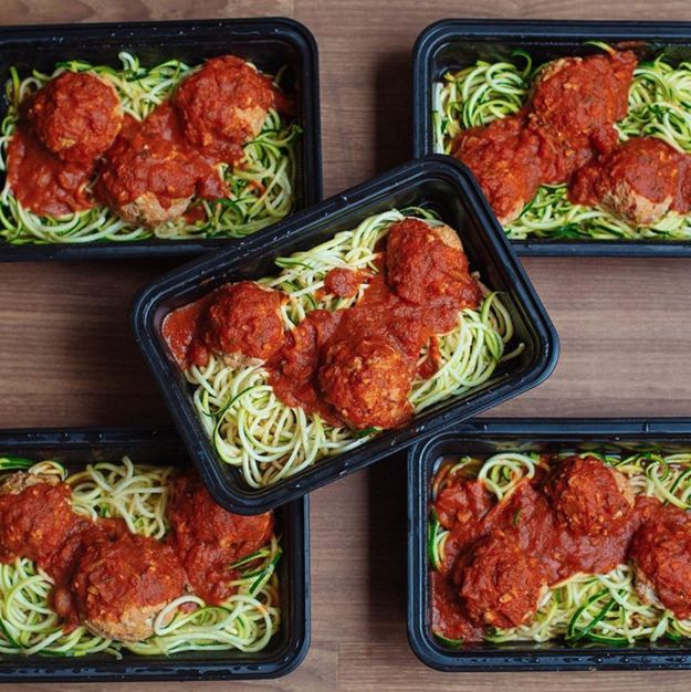 This turkey meatball zoodle prep.