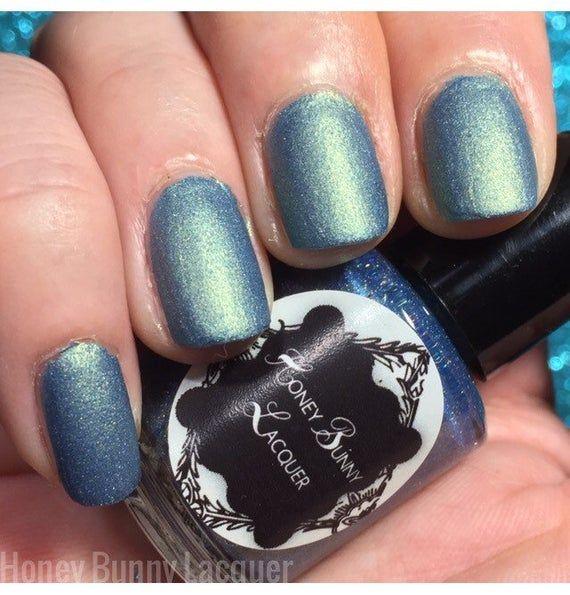 Blue Lagoon – matte nail polish – matte blue – 5 free – handmade – indie nail po…