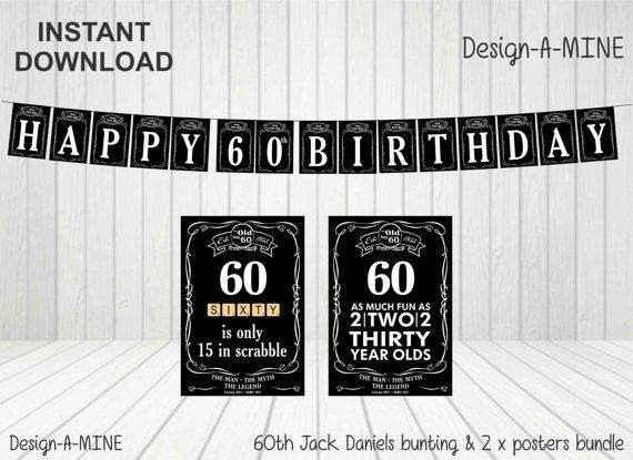Jack Daniels 60th. This personalised printable bunting and poster set is available for order directly through me as Jack Daniels removed it from Etsy. Cost is $10. I will send you a low quality proof prior to payment and once payment is received (Paypal), I will send high quality file. Personalization of items is available at an additional $5. Please email me on clairemagee1@hotmail.com. Thanks