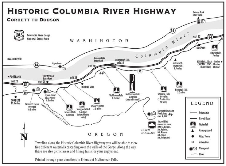 Map Of Historic Columbia River Gorge Highway Includes Locations Of Crowne Point Vista House And