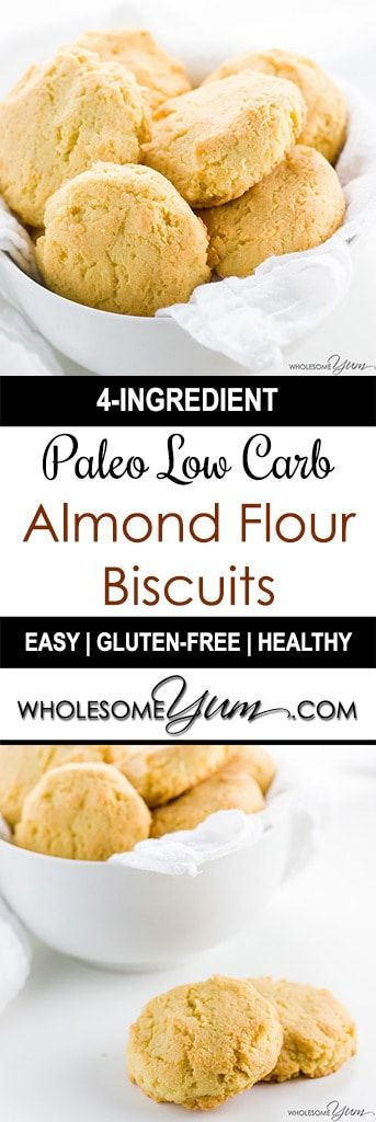 Paleo Almond Flour Biscuits (Low Carb, Gluten-free) – 4 Ingredients - This paleo almond flour biscuits recipe requires just 4 common ingredients and 10 minutes prep time! Low carb, gluten-free, and buttery delicious.