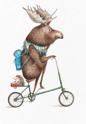 by araiz *moose and hedgehog on a bike*