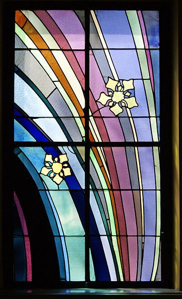 File:Krakow Medical Society house, stained glass window (R) design by Stanisław Wyspiański, 4 Radziwillowska street, Krakow, Poland.jpg