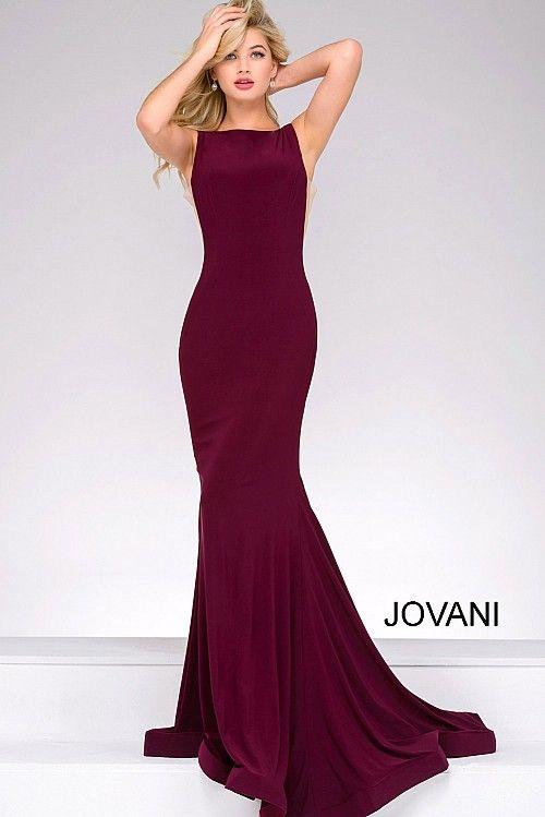 Burgundy Fitted Open Back Jersey Dress 47100 Obligatory