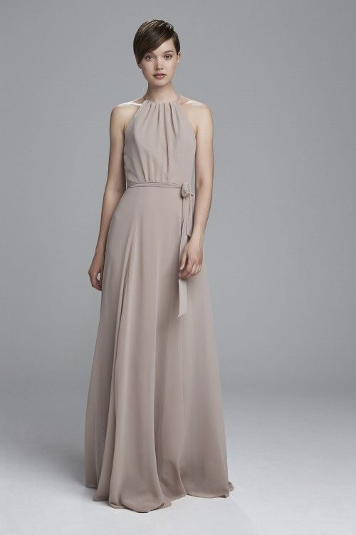 High neckline bridesmaids dress from Amsale Bridesmaids. Shown in French Blue and Latte.
