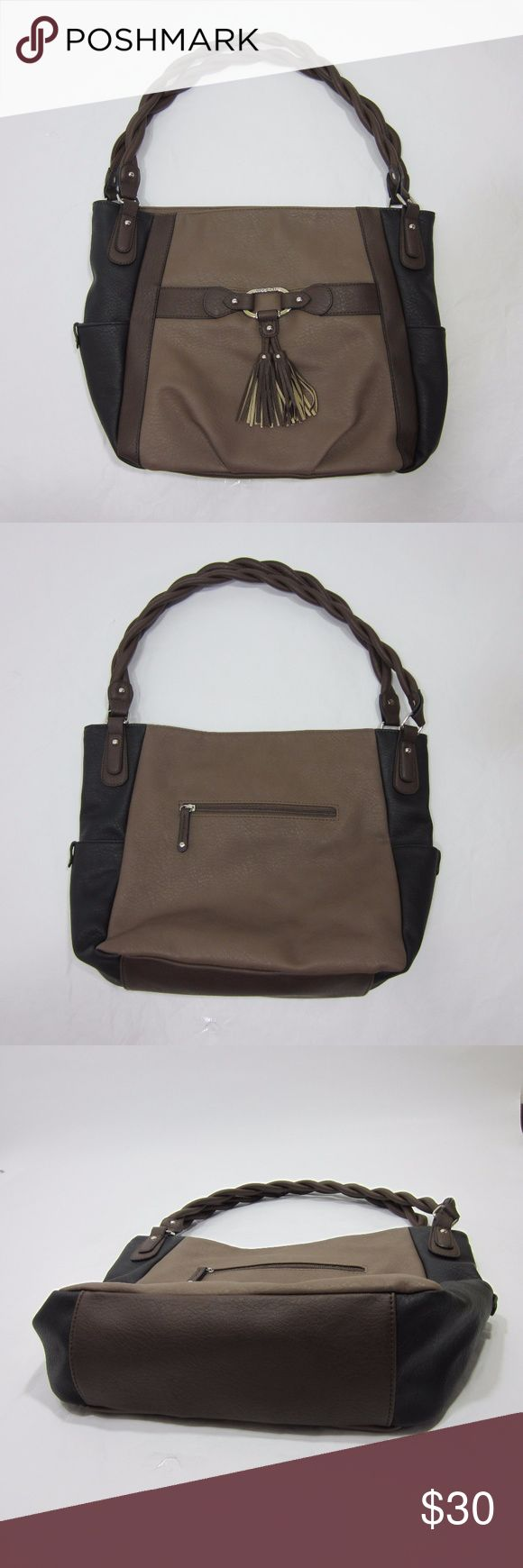 "Rosetti Large Two Tone Neutral Shoulder Bag Like new condition, no stains, rips, or pilling. Great shoulder bag with twisted handle detail and lots of pockets! Three exterior and two large inside compartments with two zippered pockets. Very versatile bag! [Size ""large"" 15"" x 11"" x 4""] Brown and black. Silver hardware w/ tassels. Brown and black.  // No holds, trades, or modeling. Colors may vary on screen. Please use measurements. Offers welcome.   *Last characters in title is inventory…"