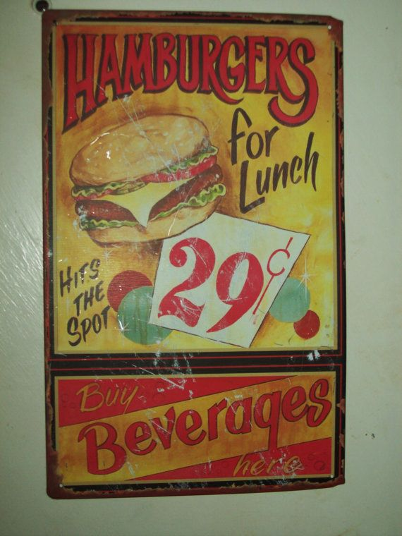 Vintage Retro Hamburger Stand Metal Sign
