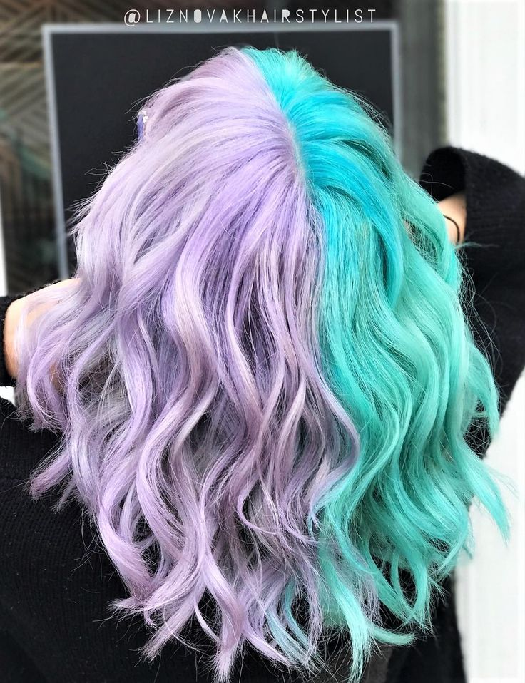 Unicorn hair symmetry styled with very diluted Purple Rain hair dye & Aquamarine dye by liznovakhairstylist - #haircolor #hairdye #hairstyle