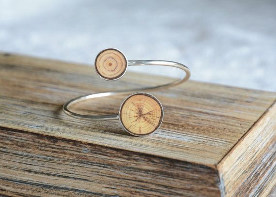 Unique wood and sterling silver bracelet wooden by MyPieceOfWood