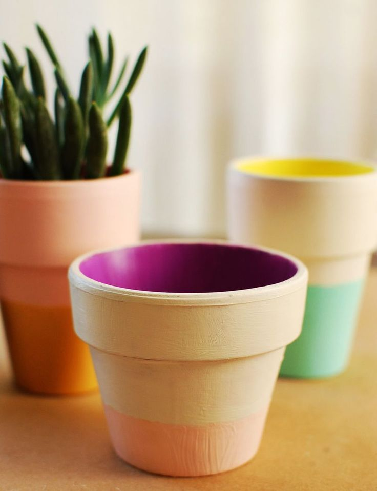 DIY: color block terra cotta pots - these are so cute! I can imagine a whole bunch of these together: Plants Can, Crafts Ideas, Terra Cotta, Terracotta Can, Flowers Pots, Blocks Terra, Colors Blocks, Pots Diy, Paintings Pots