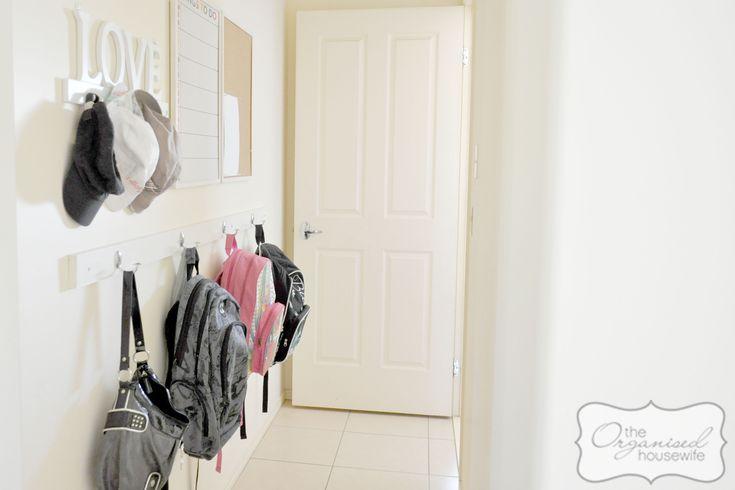 An organised school bag nook, back to school series from The Organised Housewife Blog