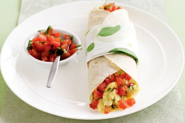 Give your dad's breakfast a Mexican twist with these soft tacos filled with vine-ripened tomatoes and creamy scrambled eggs.