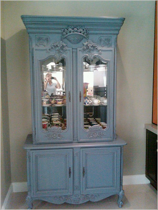 Gorgeous china cabinet in the kitchen as a focal point