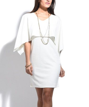 Another great find on #zulily! White V-Neck Cape Sleeve Bodycon Dress #zulilyfinds