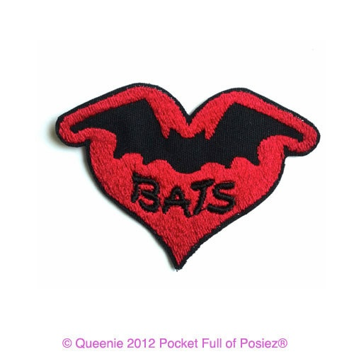 Sew on PATCH i love bats Red Bat Heart Pocket full of Posiez(R)
