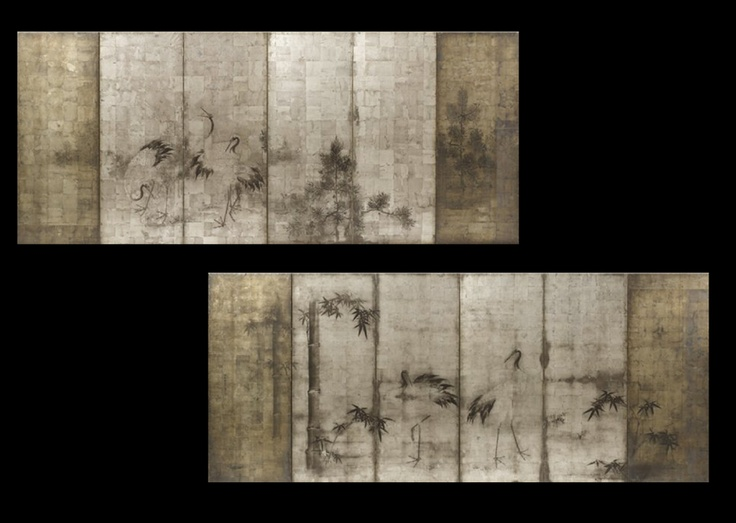 Important Edo Period Six-Fold Screens After Sotatsu, Rimpa School [front] and Yoshimura Shuzan [back]