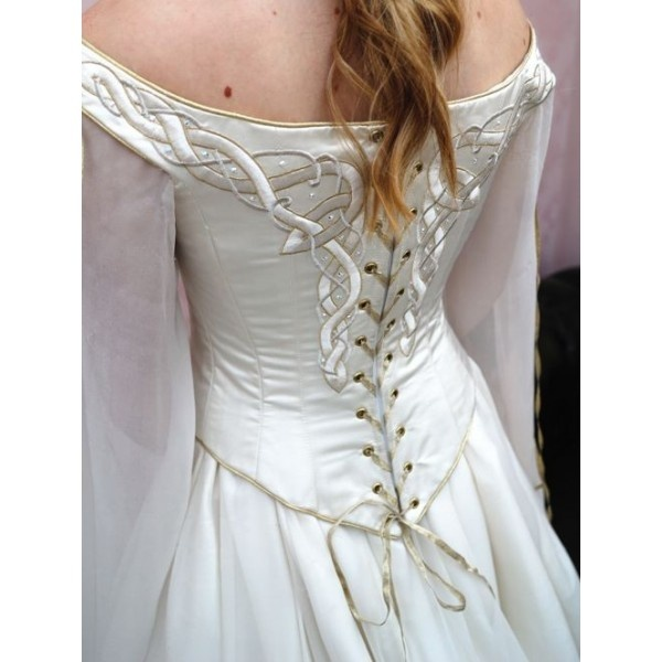 White Celtic Medieval Inspired Wedding Dress