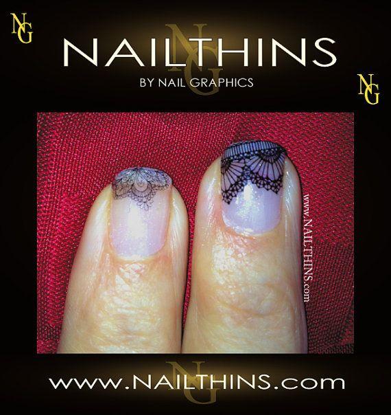 Lace Nail Decal Black Lace Nails Nail Design NAILTHINS on Etsy, $3.25