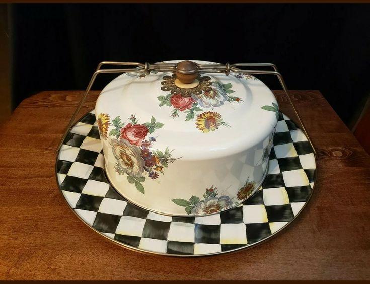 Mackenzie childs large enamel cake carrier cake carrier