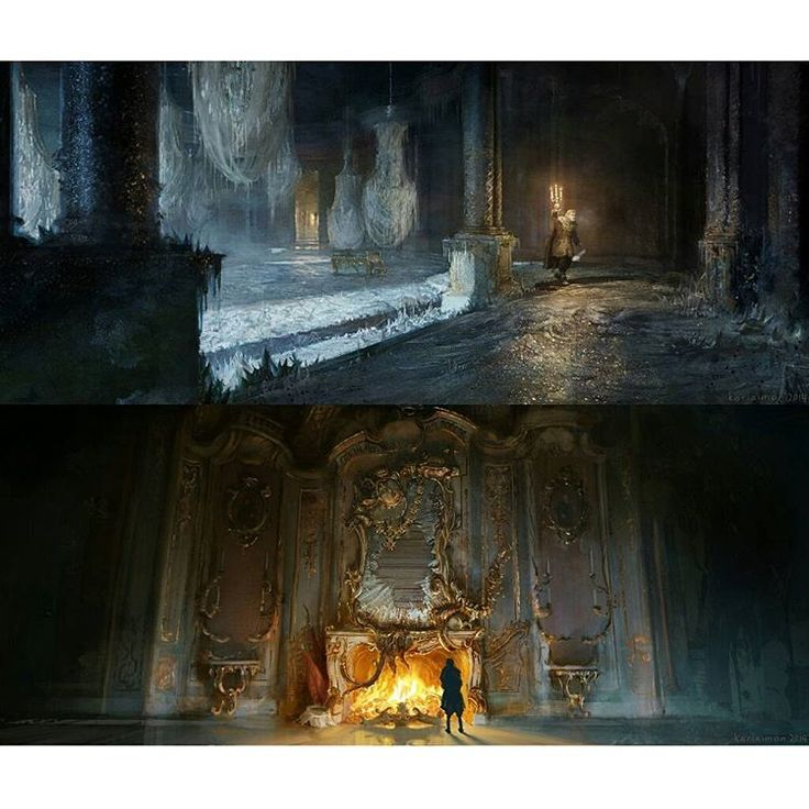 Gorgeous, stunning Beauty and the Beast Concept Art by Karl Simon: Maurice enters the Beast's Castle 1. Castle exterior 2. Broken mirror fireplace 3. Frozen ballroom Credits: conceptartworld.com/news/beauty-and-the-beast-concept-art-by-karl-simon/ (link also in bio) #beautyandthebeast #2017 #disney #conceptart #beautyandthebeastconceptart #karlsimon