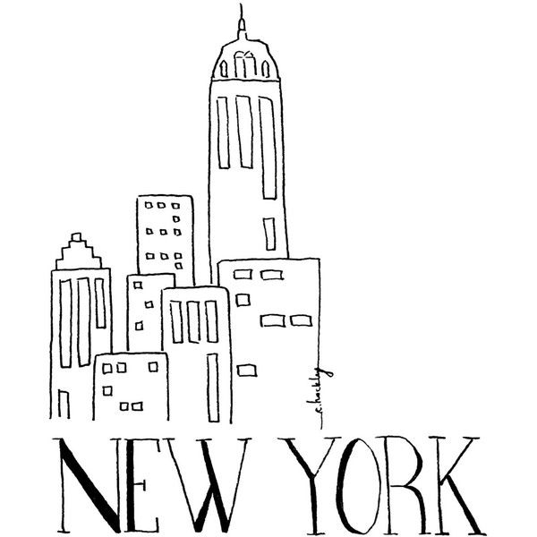 Line Drawing Nyc : Black and white illustration liked on polyvore