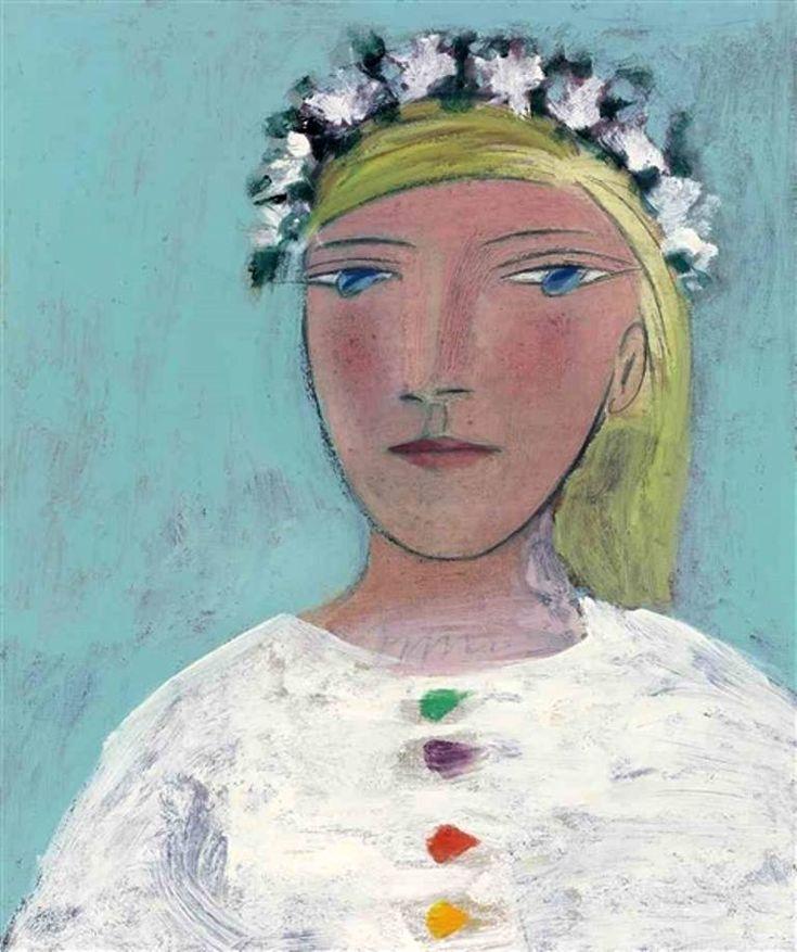 Pablo Picasso - Femme à la couronne de fleurs (Marie-Thérèse), 1937. Oil on canvas, 21.62 x 18.12 in.