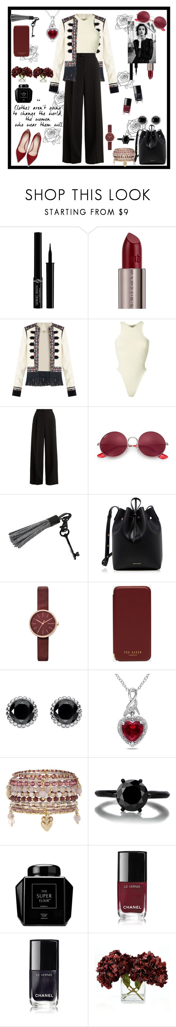 """Untitled #106"" by thea0666 ❤ liked on Polyvore featuring Giorgio Armani, Urban Decay, Talitha, Yeezy by Kanye West, RED Valentino, Ray-Ban, Mansur Gavriel, Skagen, Ted Baker and Thomas Sabo"