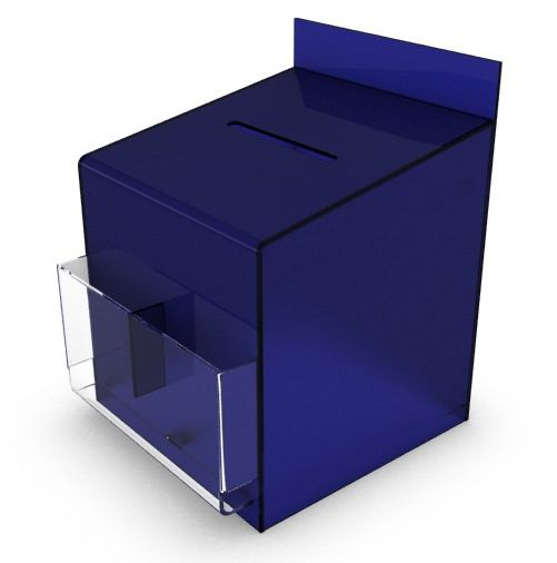 Blue Comment / Suggestion Box With Clear Pockets, Counter or Wallmountable