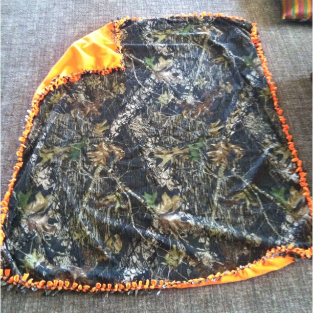 Made this for my boyfriend to take camping! (camo tie blanket)
