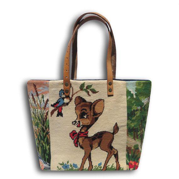 Le Mia, Sac Cabas en Canevas, Tapisseries vintage Bambi