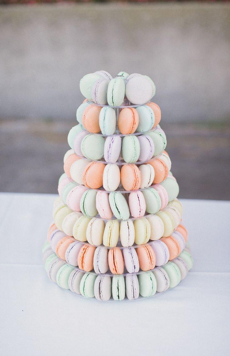 Pastel #macarons. Photography: Marvin Tsai Photography Read More: http://www.stylemepretty.com/california-weddings/2014/05/09/romantic-biola-university-wedding/