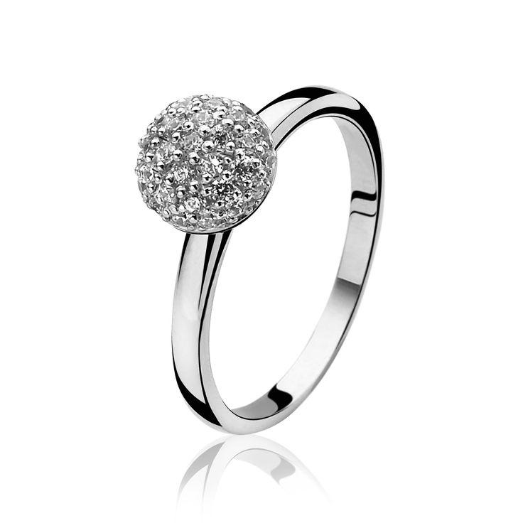ZINZI zilveren ring wit ZIR915