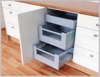 INTERNAL BLUM TANDEMBOX 3 kitchen draws PACK. Change your shelved base unit into a drawer unit and keep the existing door. This set up gives you much easier access to items in the base unit. Blum Tandembox INTERNAL drawer boxes. Smooth running high quality internal drawerboxes with soft close. Select from shallow or deep sided options. Complete kit comes with everything you need to build and install these easy to fit space saving drawers. #spacesavingdrawers #internaldrawers #drawerboxes