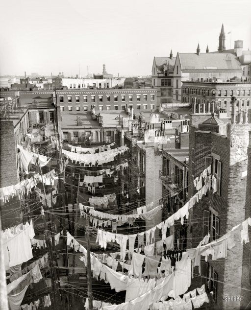 "Now, imagine the washing done by hand... | Circa 1900-1910. ""Yard of tenement, New York City."" Hung out to dry somewhere in Manhattan. Detroit Publishing Company glass negative."